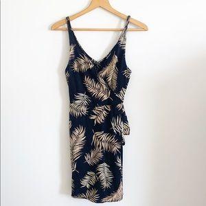 H&M Black Sleeveless Palm Leave Faux Wrap Dress